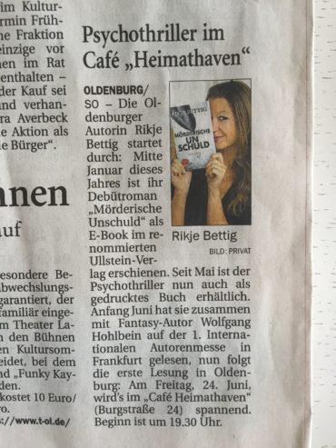 NWZ-Artikel Lesung Heimathaven Oldenburg